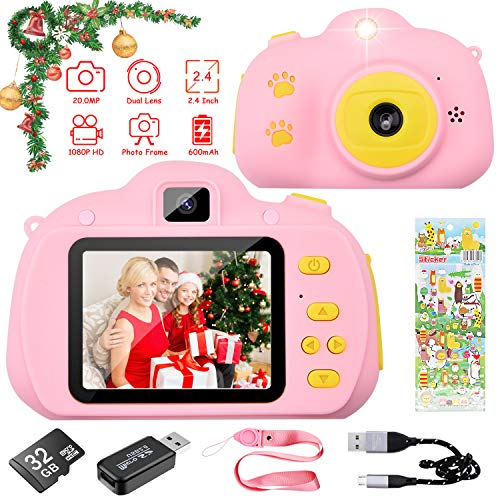 HANGRUI Kids Camera 1080P HD 200MP Digital Video Children Mini Selfie 24 inch Screen Camcorder Toddler Toys with 32GB SD Card for 3-12 Years Old Gift