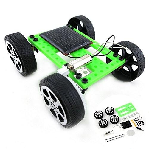 Mini Solar Powered Toy DIY Car Kit Children Educational Gadget Hobby Funny Assemble Power Science Green