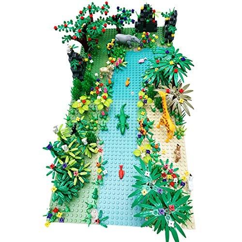 FenglinTech Forest Garden Park Building Block Toy Set with Base Plates Rainforest Plants Tree Flowers Bricks Accessories Jungle Kit Compatible Major Brands