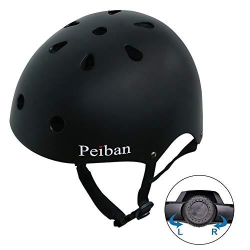 Peiban Skateboard Helmet Certified CPSC Adult&Kids Adjustable Dial with Multi Colos&Sizes for Bike Skate Scooter Black M
