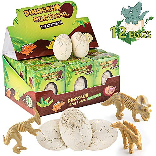 MIMITOOU Dinosaur Toys Dino Egg Dig Kit Kids Gifts 12 Excavation Kits with Unique Archaeology Science STEM for Age 3+Years Old