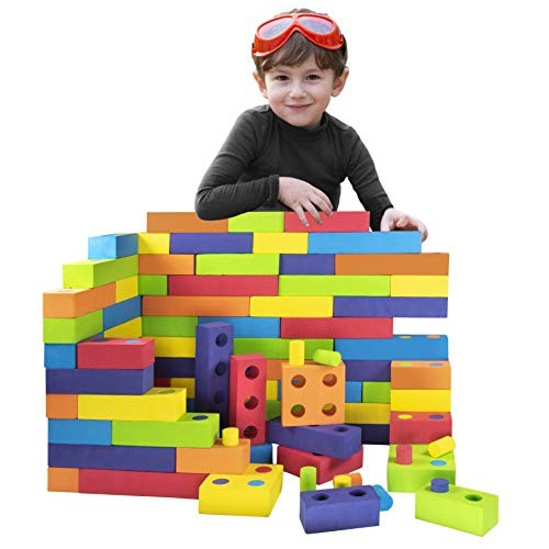 Playlearn Jumbo Foam Building Blocks with Peg Connectors 180 Pieces – Multi-Colored Stacking for Kids Safe Non-Toxic EVA