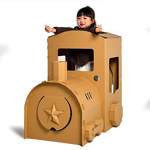 FOONEE Cardboard Playhouse DIY Graffiti Dinosaur Tank Aircraft Train Coloring 3D Model Pretend Play Toy for Kids Gifts