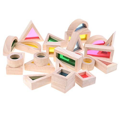 menolana 24pcs Rainbow Blocks Wooden Stacking Building Educational Toy Gift