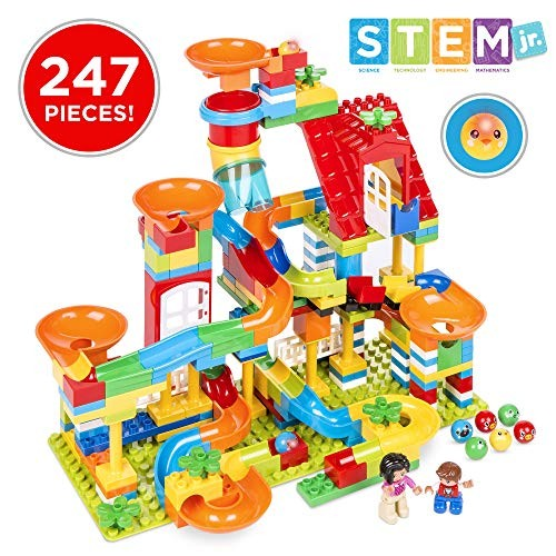 Best Choice Products Kids 247-Piece Building Blocks Marble Run STEM Toy Puzzle Race Track Set w Ramps Slides Funnels
