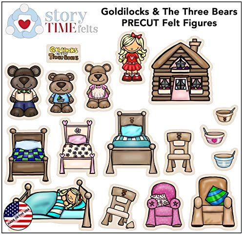 Goldilocks and Three Bears Flannel Felt Board Figures 17 Pieces PRECUT Playboard Story Set Coloring Activity Page