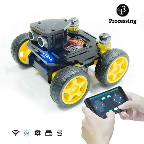 Adeept AWR-A 4WD Smart WiFi Robot Car Kit Compatible with Arduino UNO R3 Line Tracking Ultrasonic Sensor ESP8266 Processing DIY Mobile APP and PDF Manual
