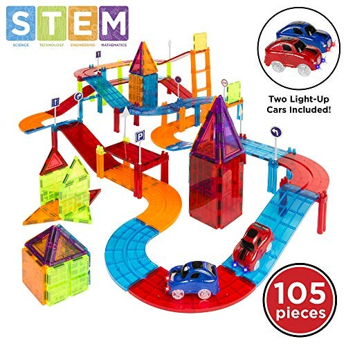 Best Choice Products 105-Piece Kids Magnetic Tile Car Race Track STEM Learning & Building Toy Set w 2 Light-Up Cars