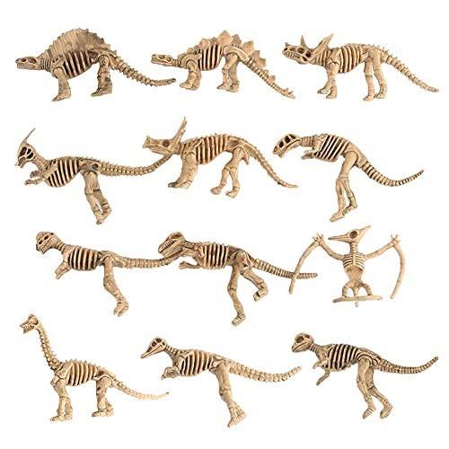 Gnc33Ouhen 12Pcs Dinosaur Skeleton Figures Toys Set Simulation Model Educational for Kids Children Toddlers Birthday Present or Party Favor