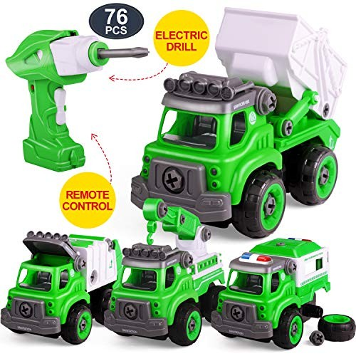 Remote Control 76 pcs Take Apart Toys for Boys & Girls with Electric Drill Put Together Car Building Sets Pull Engineering Construction Truck Kit Kids YAHI