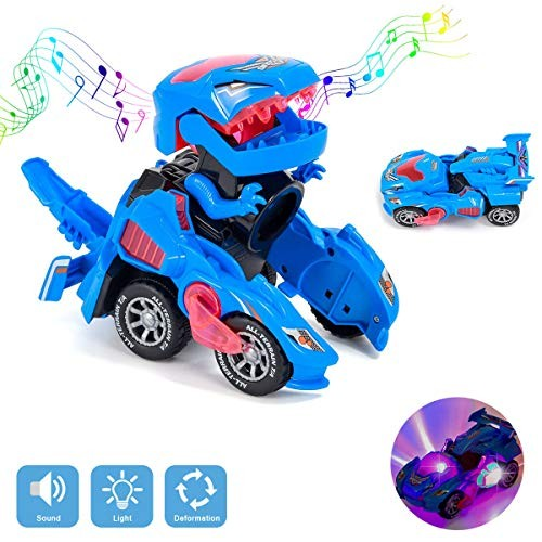BEFANS Transforming Dinosaur Toys Dinosaur Transformer Toy Car with LED Light and Music Automatic