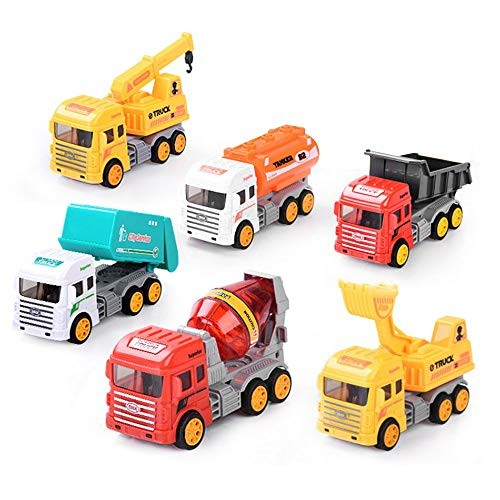 ZFRANC 6 Pcs Mini Engineering Car Tractor Toy Dump Truck Model Set Classic Alloy Children Toys Vehicle for Boys & Girls