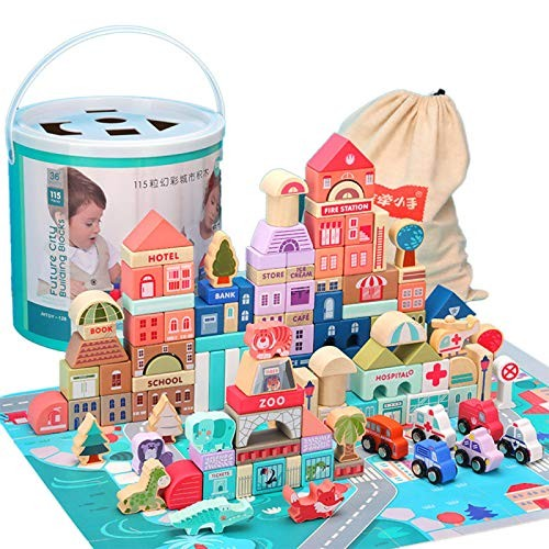 ECLENYES Children Wooden City Building Blocks Wood Architecture Educational Toy – 115Pcs Bucket + 20Pcs Animal