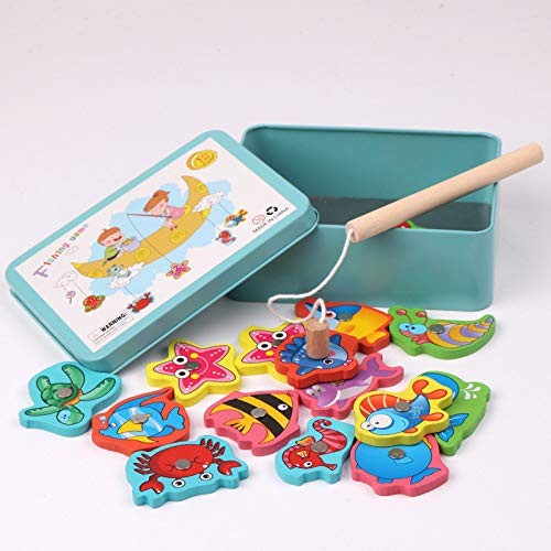 15 Iron Box Magnetic Fishing Wooden Building Blocks Toys – Intellectual Education Child Birthday Gift-Easy Storage Portable Toy