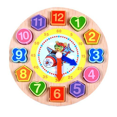 Miseku Wooden Threading Digital Clock Round Shape Pairing Building Blocks Toy Activity Play Centers