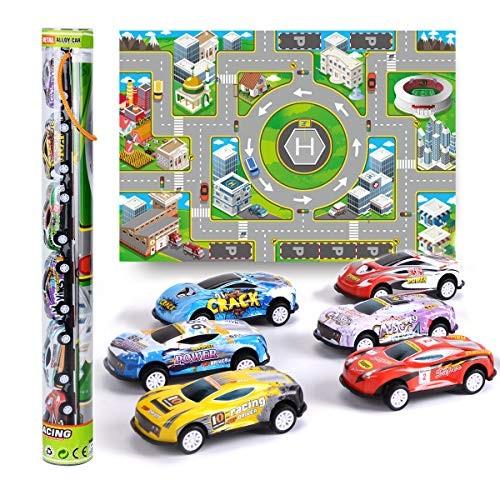 Mini Pull Back Car Truck mat car with Road Map 6pcs Colourful Race car