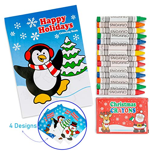 24 Pcs Christmas Party Favor Stuffers Holiday Themed 12 7 Coloring Books  And Pack Crayons Goody Bag Handout Assortment Kids Activity Fun Reward  Prizes - Educational Toys Planet