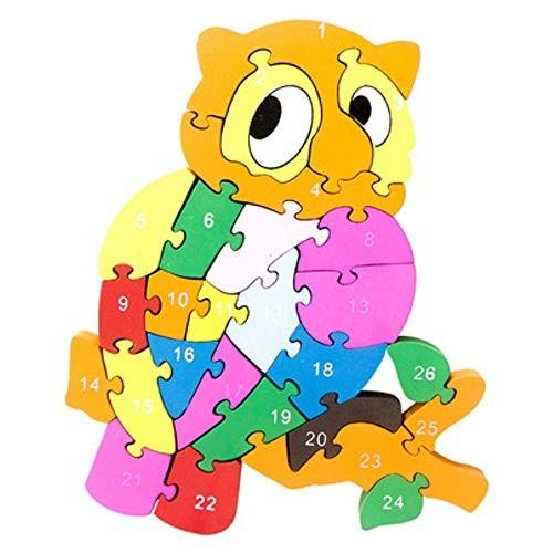 Children 26 English Alphabet Cognitive Puzzle Wooden Owl Block Toy Preschool Educational