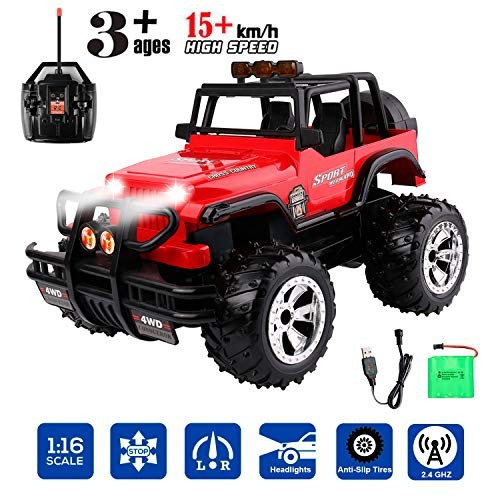 RC Car 1:16 Remote Control Car Monster Trucks with Head Lights Off Road All