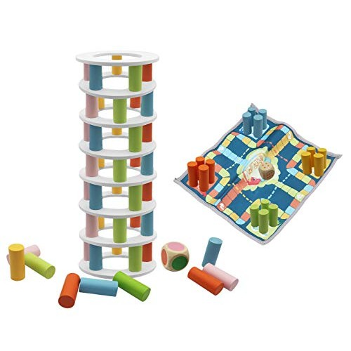 2 in 1 Wooden Stacking Game Tower Building Blocks Toy and Flying Chess Family for Adults Kids