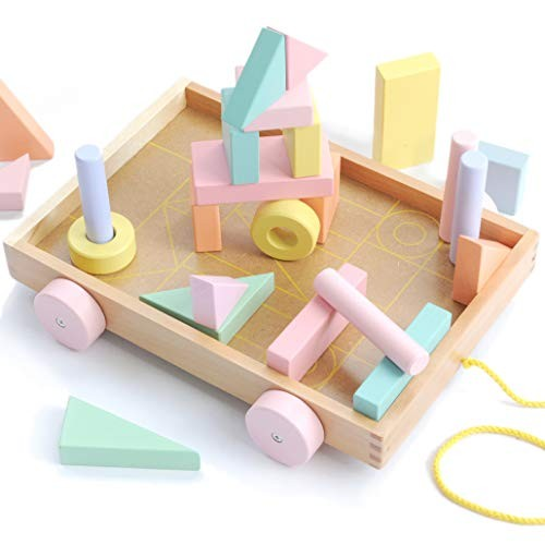 Montessori Toys for Toddlers Colored Building Blocks w Learning Wagon Stacking Wood Wooden Toddler