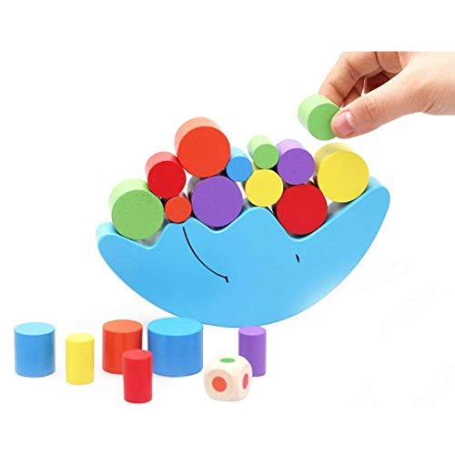 Moon Equilibrium Game Wooden Stacking Blocks Balancing Sorting Toy Building Early Brain Development Puzzle Pre-Kindergarten Toys for Toddlers