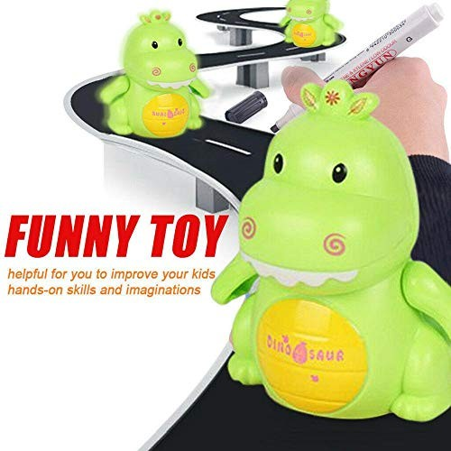 Lesgos Inductive Dinosaur Toys Electric Christmas Cute Model with Light Music Move Follow Any Drawn Line Magic Pen Mini Pig Robot Education Toy for Kids Gifts