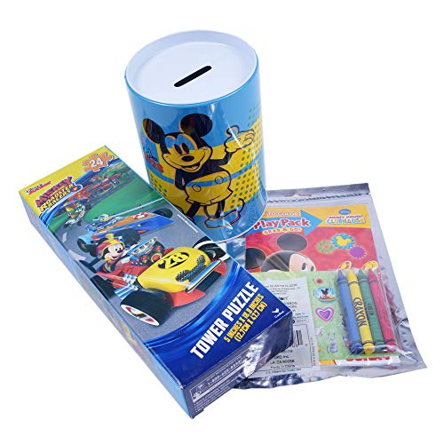 Holiday Depot Kids Gift Set – Disney Mickey Mouse Party Supplies Blue Piggy Coin Bank Coloring Book Jigsaw Puzzle Goody Bags