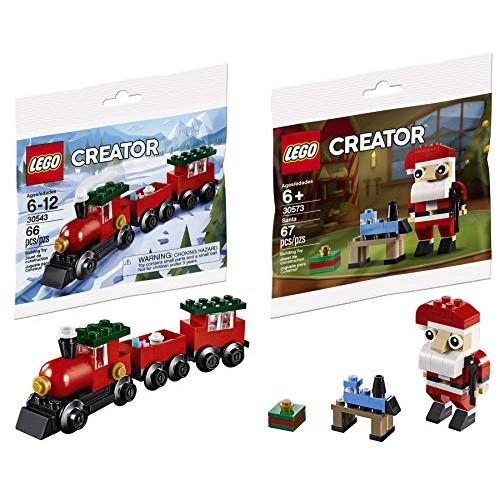 LEGO Ho Choo Mini Holiday Bag Pack Bundled with Train Building Block Set 30543 Toy & Creator Santa Clause 2 Items