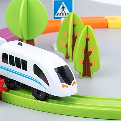 Boys and Girls Electric Toy Train Children's Wooden Kit Magnetic Puzzle Assembling Building Blocks Toys Very Suitable for Children to Exercise Their Imagination