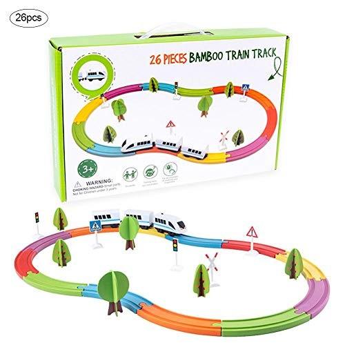 Gereton 26PCS Electric Train Set Toy Magnetic Wooden Assembled Building Blocks Kids Children Educational