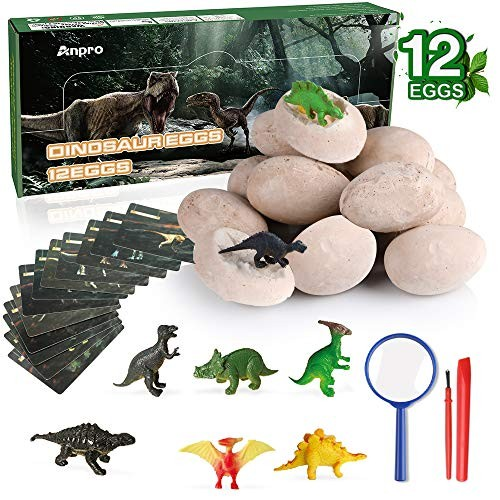 Anpro 12 Dinosaur Eggs Excavation KitIncludes Toy Dino Figuresfor Learning Archaeology Science