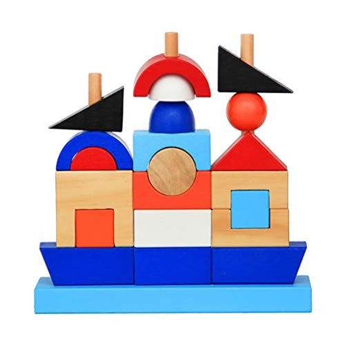 Wooden Shape Stack Sort Learning Activity Colour Sorter Stacking Games Kids Infants Educational Gift Early Development