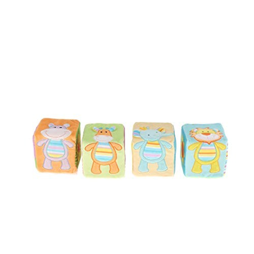 4 PCS Baby Soft Rattle Blocks Infant Early Education Toys Easy Grab and Stack Building Toy