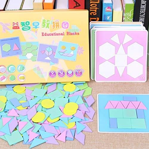 Kekailu Children Toys 190Pcs Macaron Wooden Geometric Building Blocks Jigsaw Puzzle Kids Cognition Toy