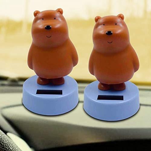Rubyyouhe8 DecorationDIY OrnamentSolar Powered Cartoon Coffee Bear Flip Flap Pot Swing Toy Car Dashboard OrnamentDisplay Model
