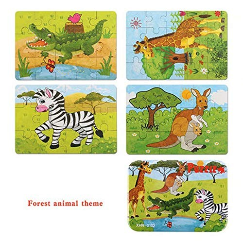 Children's Early Learning Puzzle Baby Wooden Building Block Toys Little Boy Girl-Forest Animal Theme Higher Order