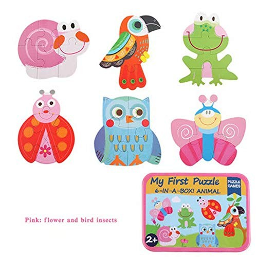 Children's Early Learning Puzzle Baby Wooden Building Block Toys Little Boy Girl-Flower and Bird Insects Advanced Type