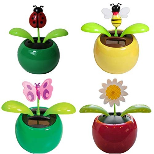 4 Eco-Friendly Solar Dancing Flowers in Colorful Pots Decoration Gift No Battery Required 1 Orange Daisy 1 Pink Red Flower Yellow Sunflower Bug
