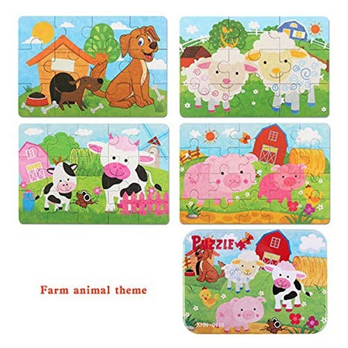 Children's Early Learning Puzzle Baby Wooden Building Block Toys Little Boy Girl-Farm Animal Theme Higher Order