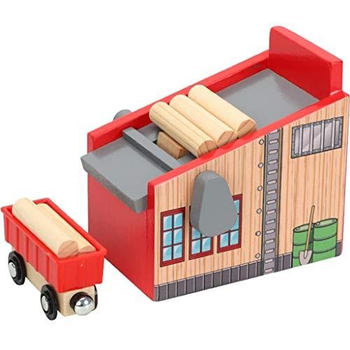 Kekailu Children Toys Wooden Lumber Yard Blocks Car Kit Model Kids Toy Train Track Scene Accessories