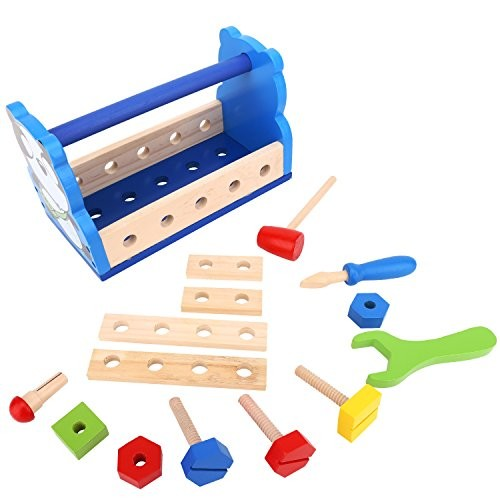 Zooawa Wooden Tool Box Toy 16 Pack Panda Building Construction Kit Set Discovery Educational Pretend Play Toys for Kids and Toddlers – Colorful