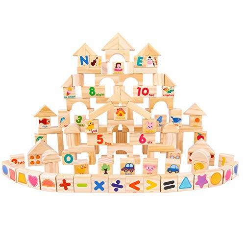 zhenleisier 103Pcs Set Animal Number Blocks Wooden Castle DIY Building Kids Educational Toy Gift