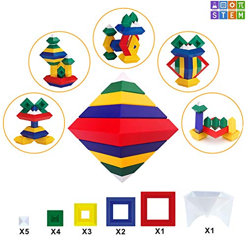 OUBANG Building Block Toys STEM Stacking Blocks Set3D Puzzle Creative Educational for KidsGreat Gift Boys and GirlsAges 3+15 pcs
