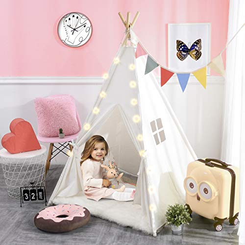 Lisasky Kids White Teepee Tent With Fairy String Light Baby Play For Boys Girls Portable Child Playhouse Indoor Outdoor Educational Toys Planet
