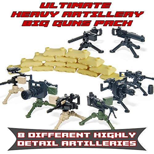 Trendyz Ultimate Heavy Artillery Big Guns Pack with Sandbags – Military Army Weapons and Accessories Mortar Building Block Toy for Custom Bricks Minifigures Complete Set
