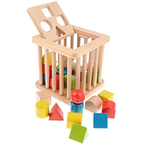 Injoyo Geometric Solid Wooden Building Blocks Set & Box for Kids Children Preschool Learning Educational Monterssori Toys