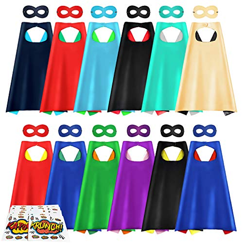 Superhero Capes and Masks 12 Pack DIY Party Dress Up Cape Set for Kids Reversible Dual Color Costume with Stickers 12 Masks