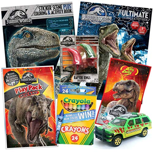 Jurassic World Fallen Kingdom Coloring Book Toy Set 8 Pack TRex Raptor Activity Books Mystery Park Matchbox Car Crayons Dinosaur Candy Claw Lollipop Ring for Children Ages 4-10