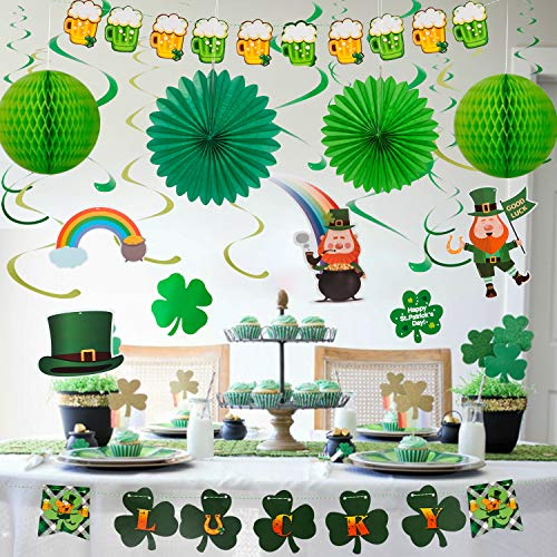 YIHONG St Patrick's Day Decorations Set 22 Pieces Hanging Swirls with Lucky Irish Green Shamrock Leprechauns Sant Patrick Poms Banners for Home Theme Party